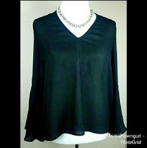 H&M hi-lo blouse with bell sleeves and tie back L